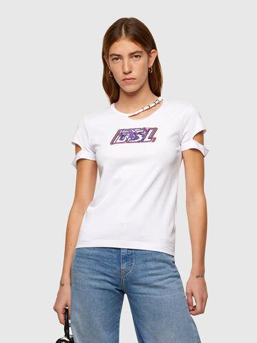 T-shirt con dettagli cut-out con logo DSL