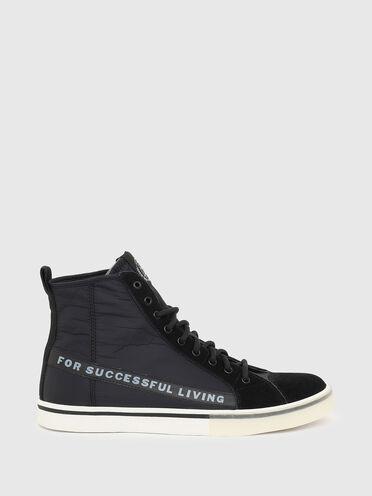 Sneaker alte in nylon e pelle scamosciata