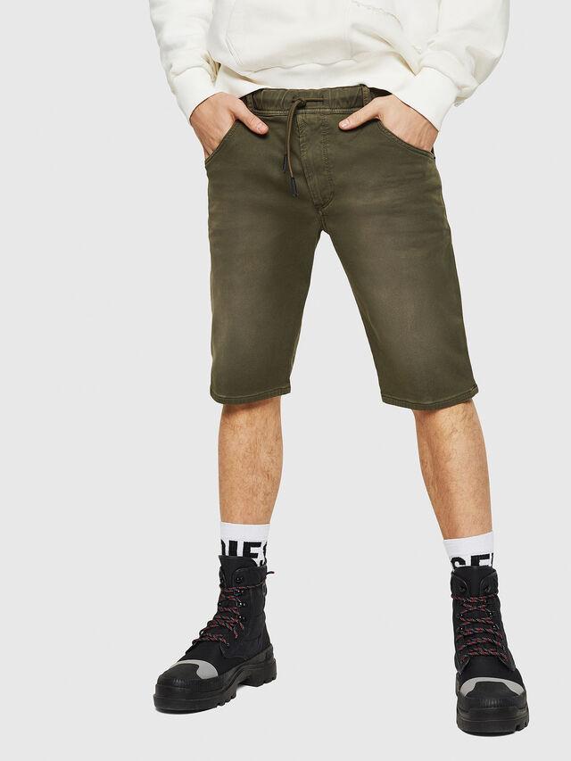 Diesel - D-KROOSHORT JOGGJEANS, Verde Scuro - Shorts - Image 1