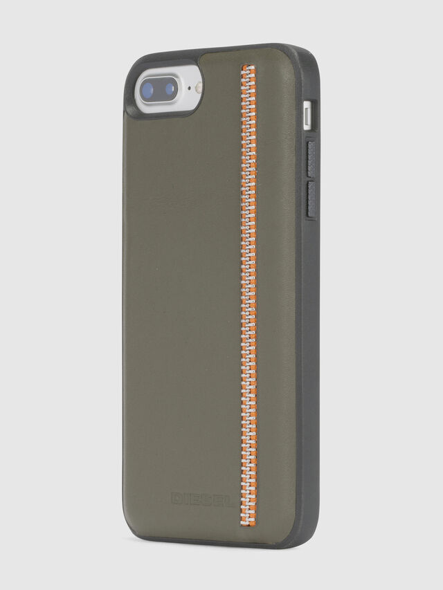 Diesel - ZIP OLIVE LEATHER IPHONE 8 PLUS/7 PLUS/6s PLUS/6 PLUS CASE, Verde Oliva - Cover - Image 3
