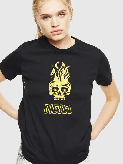 Diesel - T-SILY-WQ, Nero/Giallo - T-Shirts - Image 1