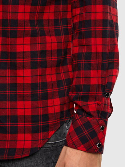 Diesel - S-EAST-LONG-CHK, Nero/Rosso - Camicie - Image 4