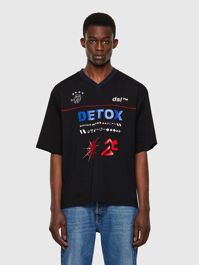Diesel - T-DELPHIVY-SLITS, Nero - T-Shirts - Image 1