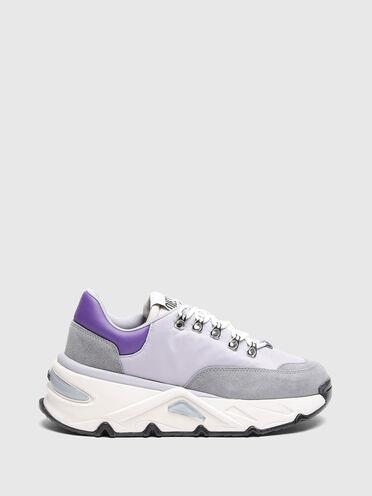 Sneaker chunky in nylon e camoscio