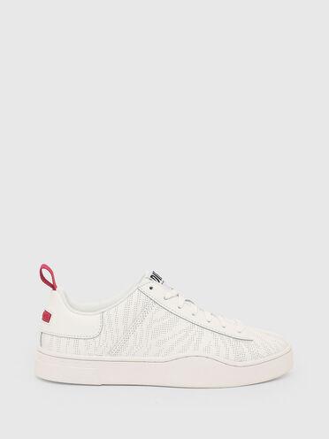 Sneaker basse in pelle traforata