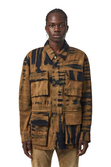 Field jacket in denim tie-dye