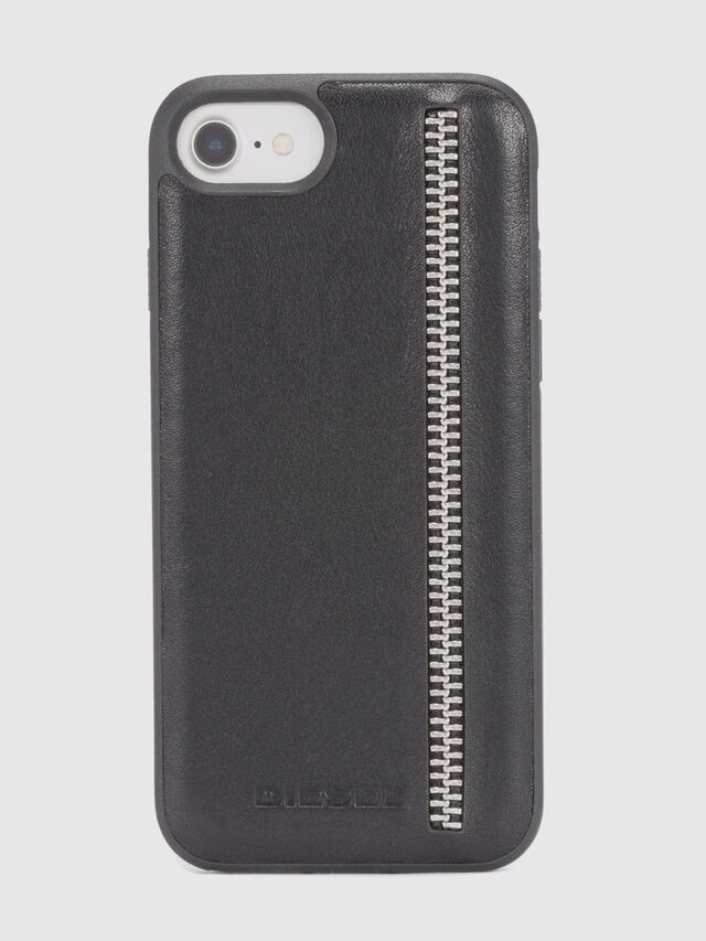 Diesel - ZIP BLACK LEATHER IPHONE 8 PLUS/7 PLUS/6s PLUS/6 PLUS CASE, Nero - Cover - Image 2
