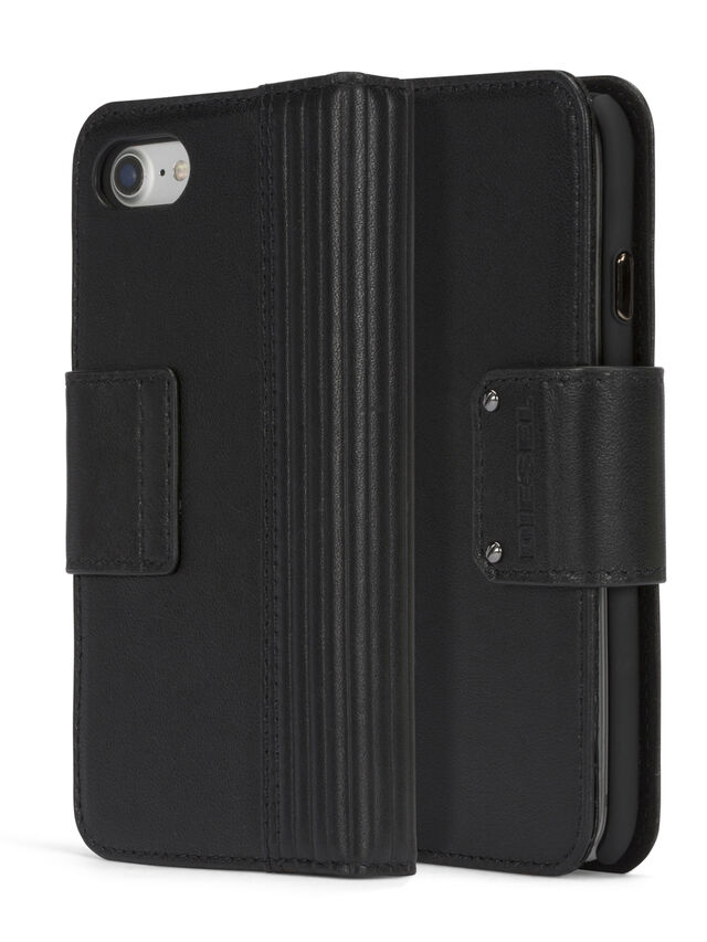 Diesel - BLACK LINED LEATHER IPHONE 8 PLUS/7 PLUS FOLIO, Nero - Cover a libro - Image 3