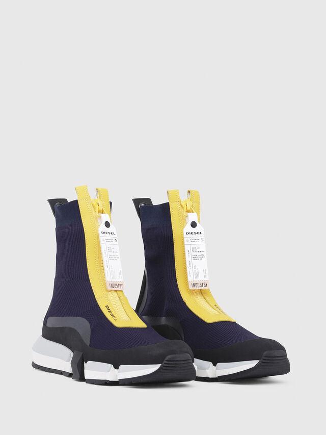 Diesel - H-PADOLA MID ZIP, Blu/Giallo - Sneakers - Image 2