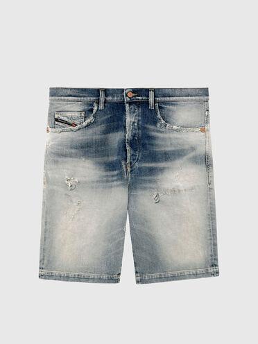 Shorts straight in denim ombreggiato con rotture