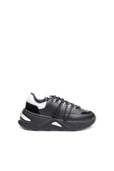 Sneaker chunky in pelle e camoscio