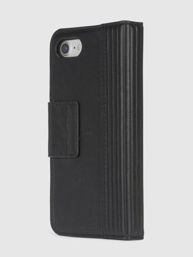 Diesel BLACK LINED LEATHER IPHONE 8/7 FOLIO, Nero - Cover a libro - Image 5