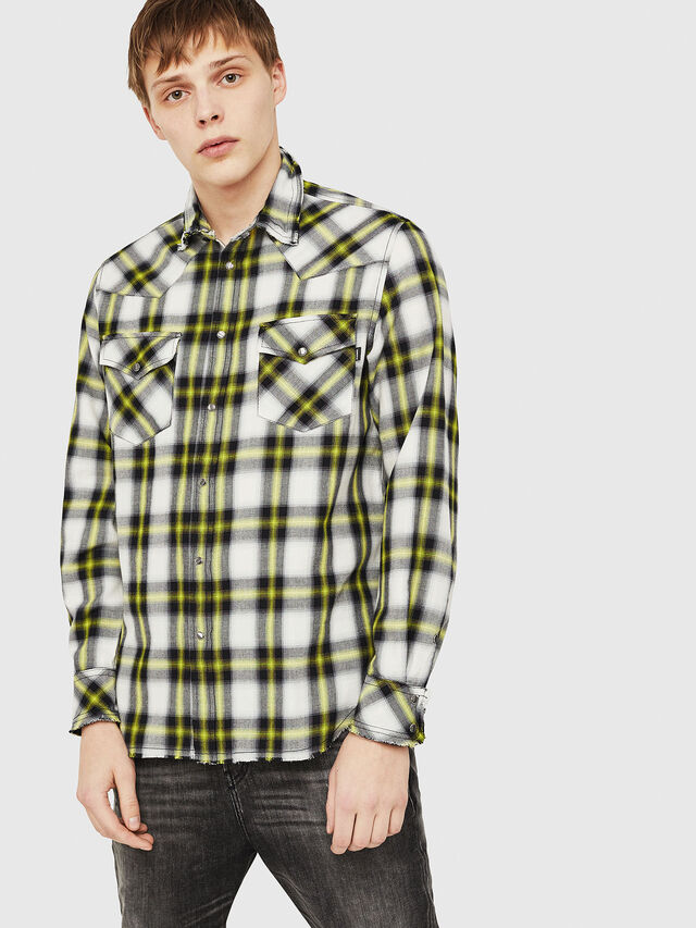 Diesel - S-EAST-LONG-G, Bianco/Nero - Camicie - Image 1