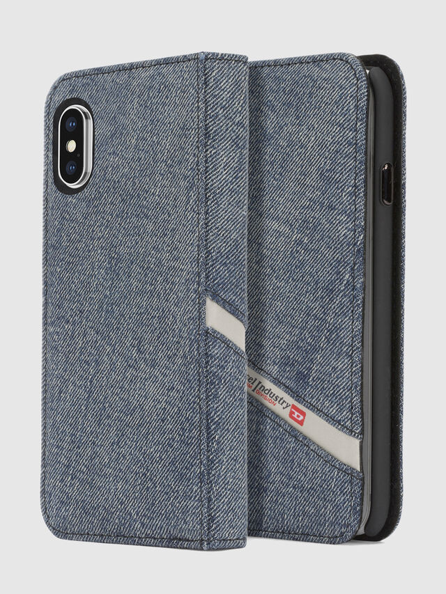 Diesel - DENIM IPHONE X FOLIO, Blu Jeans - Cover a libro - Image 1