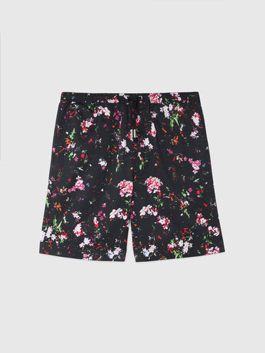 Shorts in twill con stampa floreale
