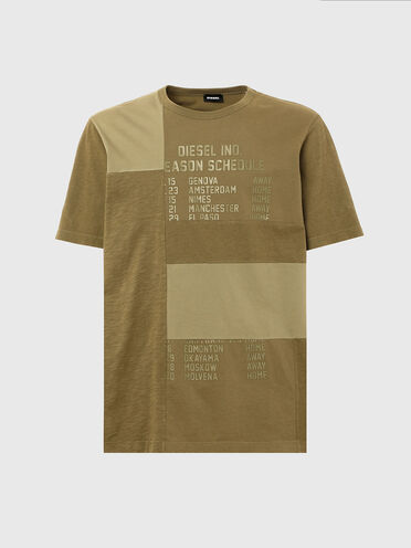 T-shirt patchwork con stampa Schedule