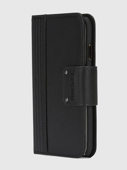 Diesel - BLACK LINED LEATHER IPHONE X FOLIO,  - Cover a libro - Image 3