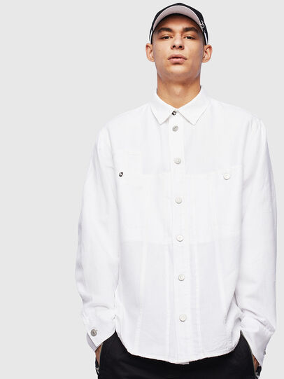 Diesel - D-FLOX, Bianco - Camicie in Denim - Image 1