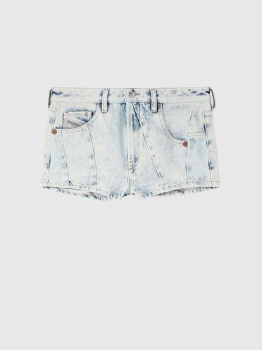 Shorts in denim con effetto marmorizzato