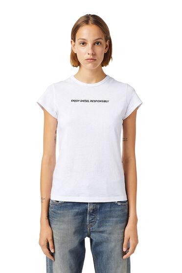 T-shirt Green Label con slogan ricamato