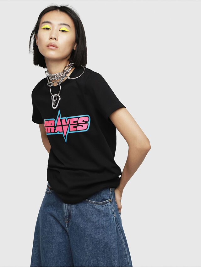 Diesel - T-SILY-WG, Nero - T-Shirts - Image 1