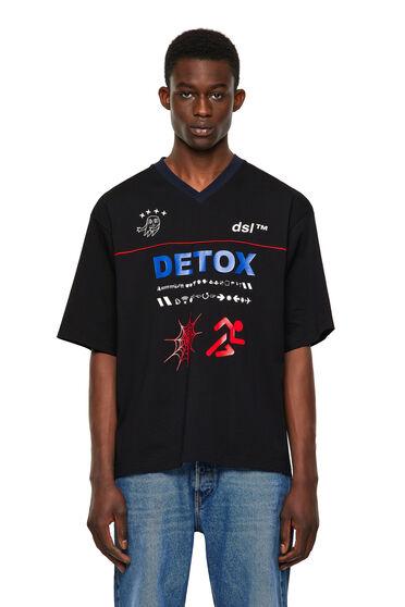 T-shirt con stampe e carré con profili in passamaneria