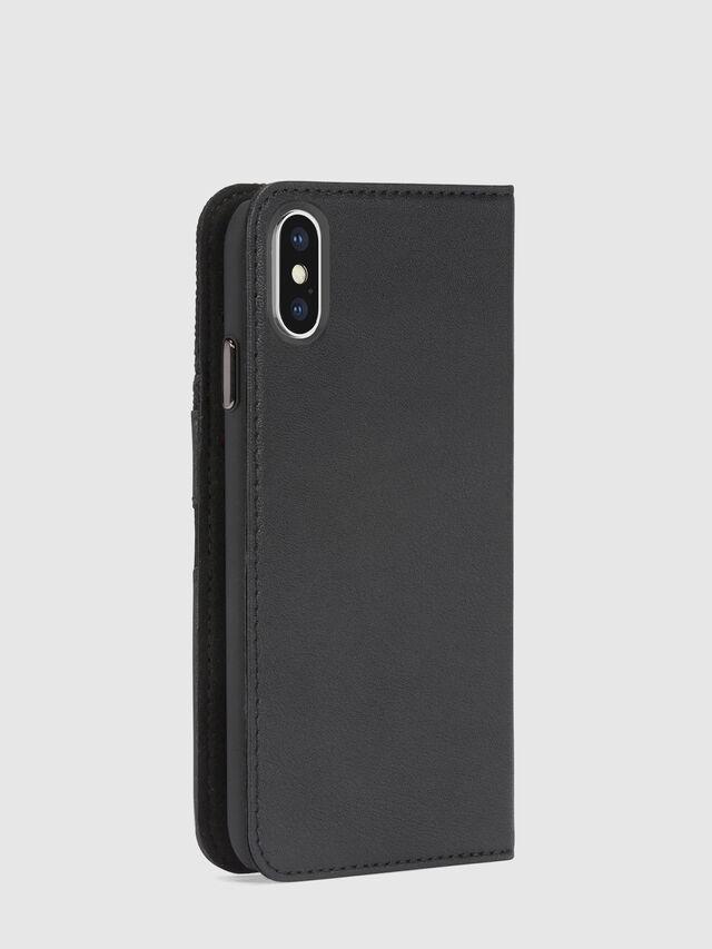 BLACK DENIM/STUD/ZIPPER IPHONE X FOLIO, Nero