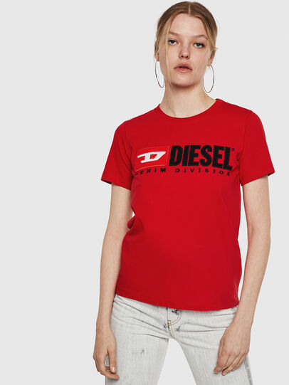 Diesel - T-SILY-DIVISION, Rosso Fuoco - T-Shirts - Image 1
