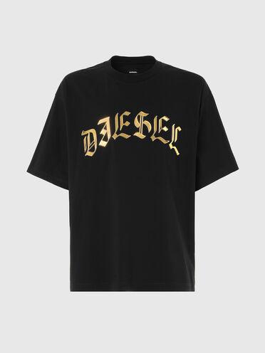 T-shirt con stampa con logo metallizzata