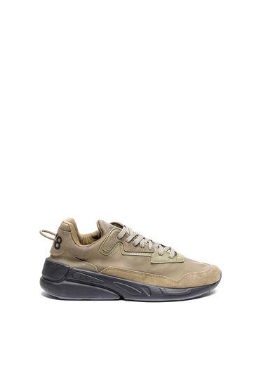 Sneaker in nylon, pelle e camoscio