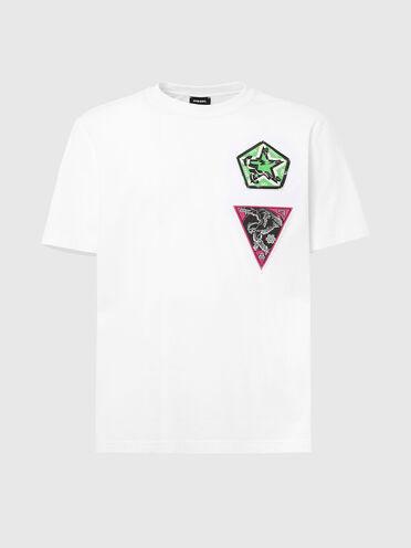 T-shirt con stampa cobra e applicazioni