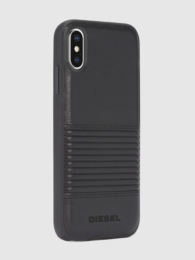 BLACK LINED LEATHER IPHONE X CASE, Nero Cuoio