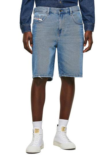 Shorts slim fit in denim con abrasioni
