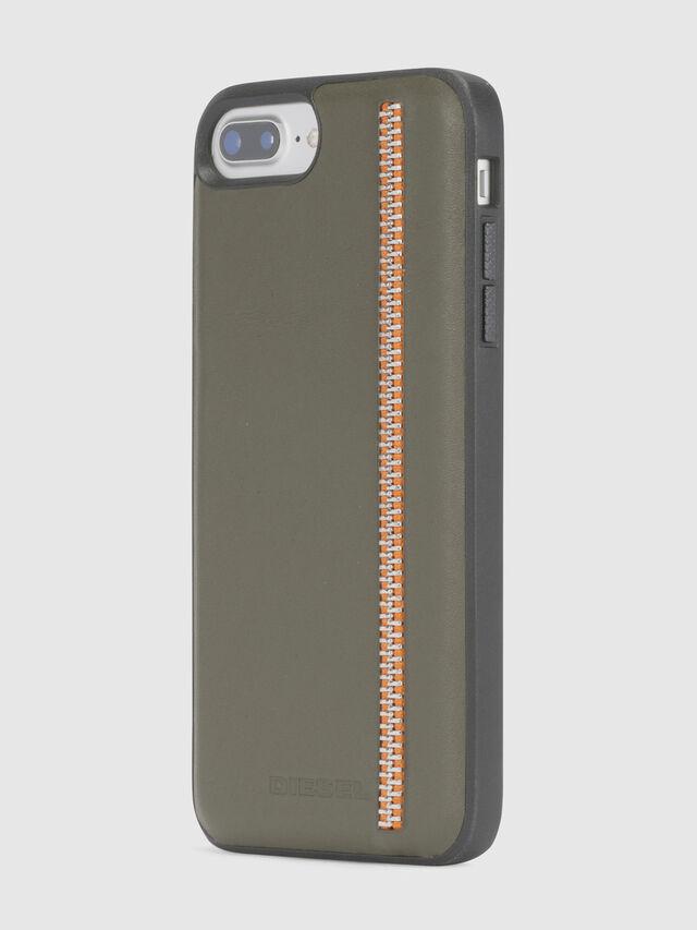 Diesel ZIP OLIVE LEATHER IPHONE 8 PLUS/7 PLUS/6s PLUS/6 PLUS CASE, Verde Oliva - Cover - Image 3