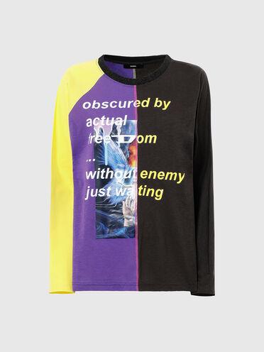 T-shirt colour block a maniche lunghe