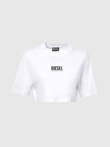 T-shirt Green Label taglio cropped con logo