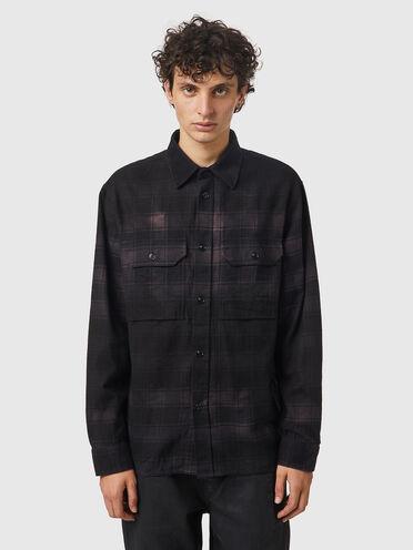 Camicia in flanella a quadri con effetto trattato