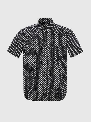 Camicia in popeline con stampa logo