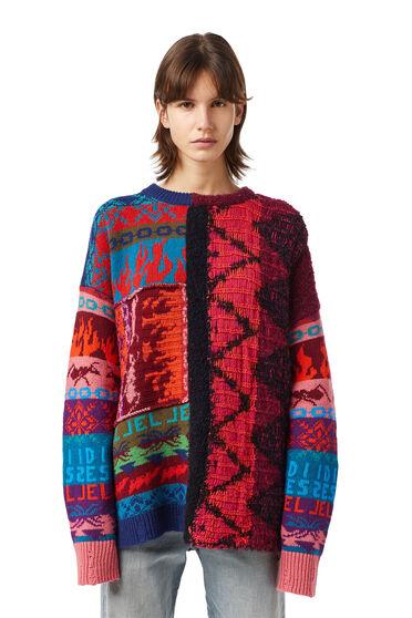 Pullover jacquard distressed