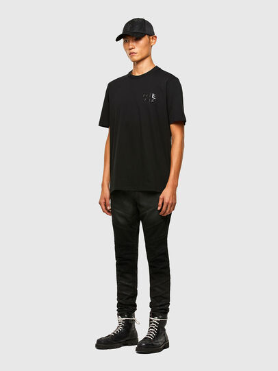 Diesel - T-JUST-SLITS-A30, Nero - T-Shirts - Image 4