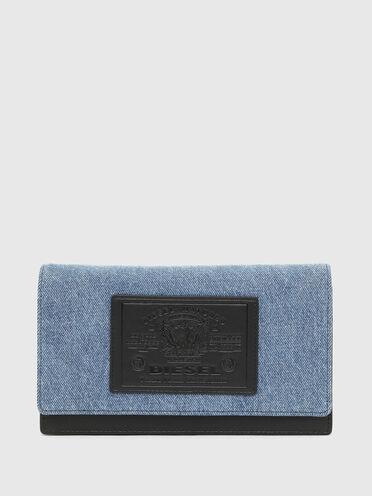Portafoglio/mini borsa in denim bicolore