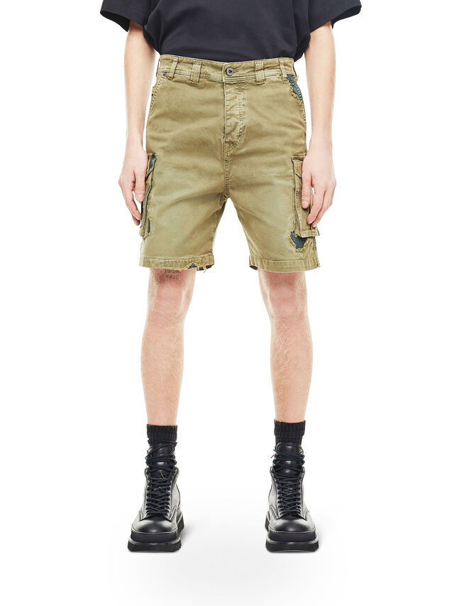 Diesel - TYPE-2908, Verde Militare - Shorts - Image 1