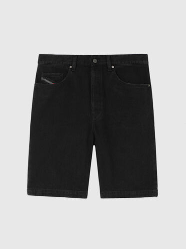 Shorts straight in denim tinta unita