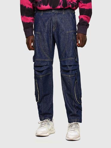 Pantaloni cargo in denim rinse