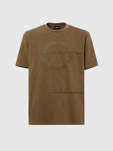 T-shirt con logo Copyright stile patchwork