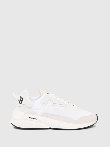 Sneaker monocromatiche in nylon e pelle scamosciata