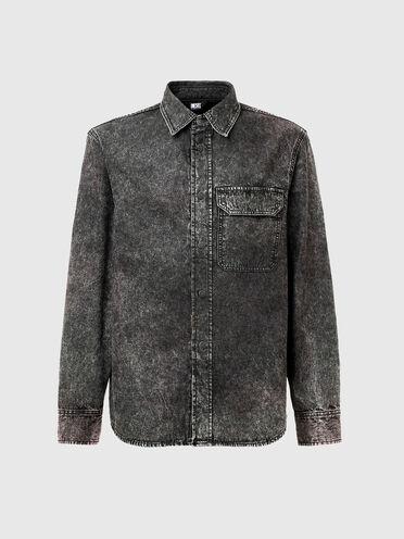Camicia in denim con effetto marmorizzato