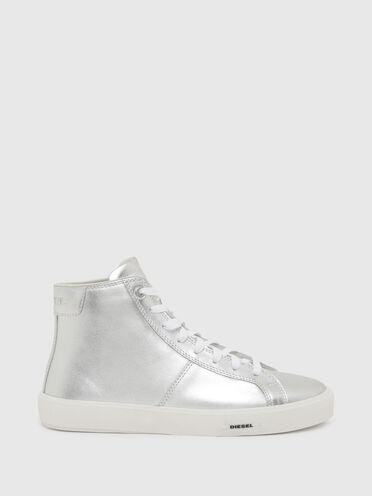 Sneaker alte in pelle metallizzata