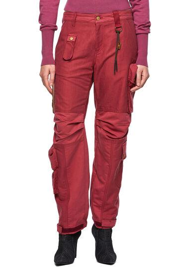 Pantaloni cargo in twill di cotone-lino