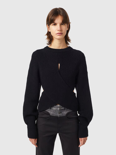 Pullover incrociato con cut-out